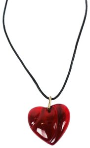 Baccarat Red Crystal Heart Pendant Necklace