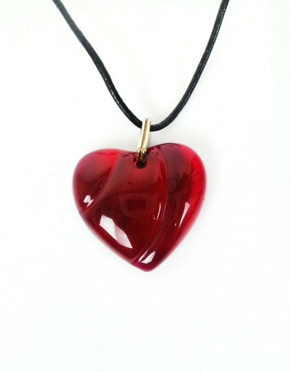 Baccarat Red Crystal Heart Pendant Necklace Image 2
