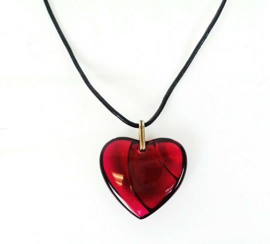 Baccarat Red Crystal Heart Pendant Necklace Image 3