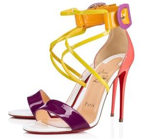 bab529a5d734 Christian Louboutin Living Coral Coral Coral Cross Strap Multicolor Sandals