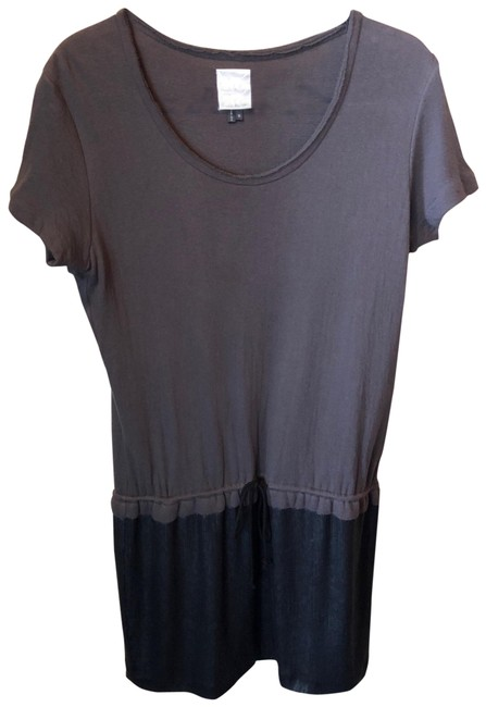 Preload https://img-static.tradesy.com/item/25110903/nicole-miller-taupe-and-black-t-shirt-mid-length-short-casual-dress-size-10-m-0-1-650-650.jpg