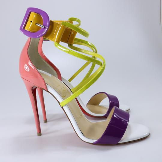 Christian Louboutin Living Coral Coral Coral Cross Strap Multicolor Sandals Image 3