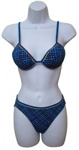 Other St Tropez Blue Checked 2 Piece Padded Top Bikini