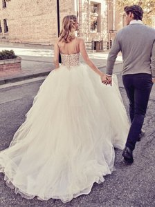 Maggie Sottero Ivory Over Nude/Pewter Accents Tulle Crystals Shauna Traditional Wedding Dress Size 8 (M)