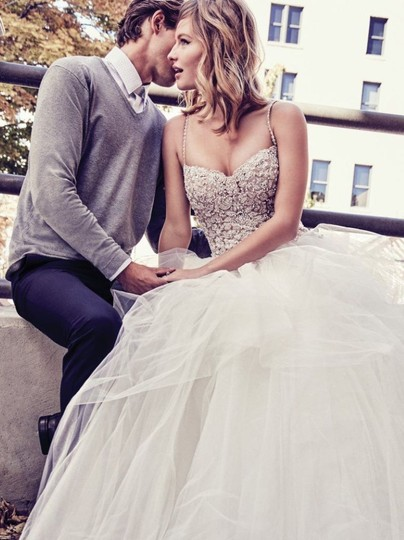Maggie Sottero Ivory Over Nude/Pewter Accents Tulle Crystals Shauna Traditional Wedding Dress Size 8 (M) Image 1