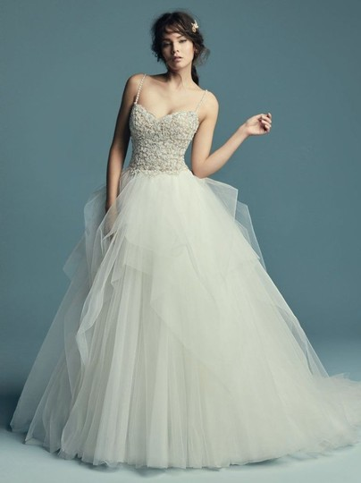 Maggie Sottero Ivory Over Nude/Pewter Accents Tulle Crystals Shauna Traditional Wedding Dress Size 8 (M) Image 2