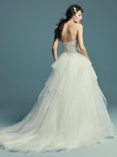 Maggie Sottero Ivory Over Nude/Pewter Accents Tulle Crystals Shauna Traditional Wedding Dress Size 8 (M) Image 3
