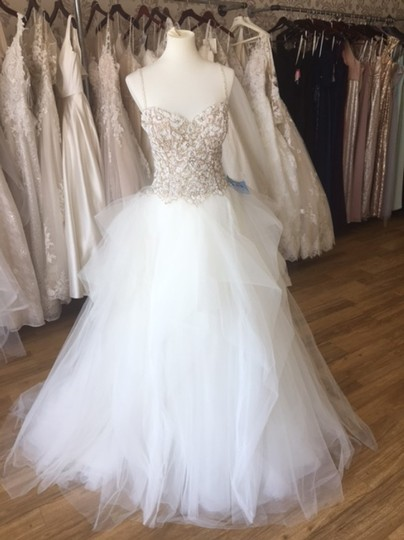 Maggie Sottero Ivory Over Nude/Pewter Accents Tulle Crystals Shauna Traditional Wedding Dress Size 8 (M) Image 4