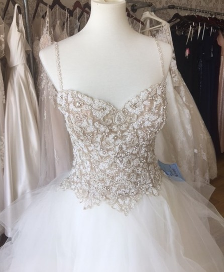 Maggie Sottero Ivory Over Nude/Pewter Accents Tulle Crystals Shauna Traditional Wedding Dress Size 8 (M) Image 5