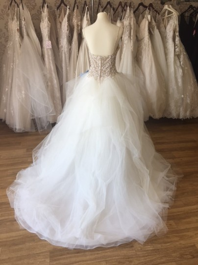 Maggie Sottero Ivory Over Nude/Pewter Accents Tulle Crystals Shauna Traditional Wedding Dress Size 8 (M) Image 6