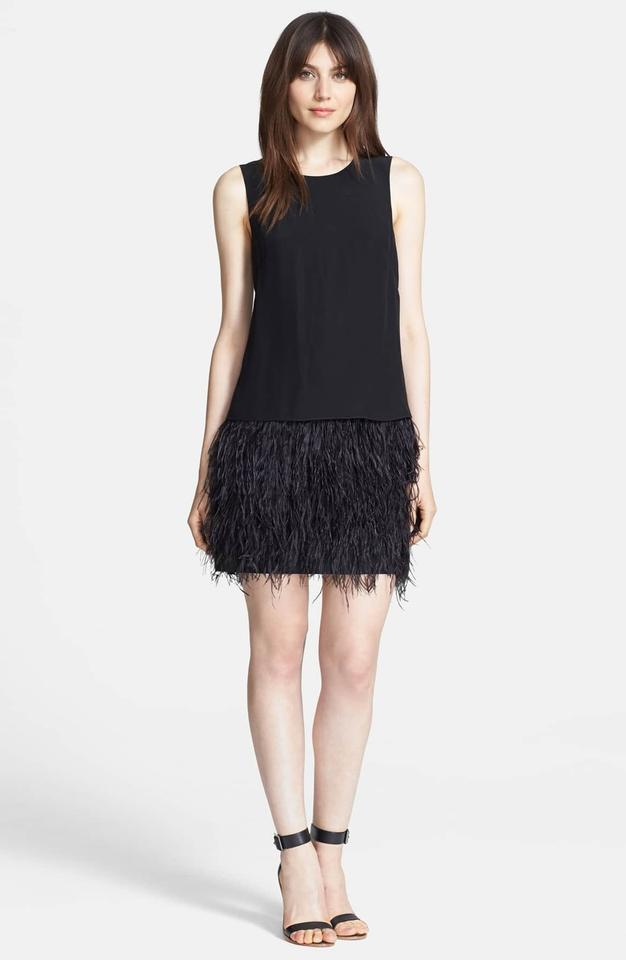 Tibi Black Cera Tuxedo Ostrich Feather Short Casual Dress Size 2 Xs 66 Off Retail