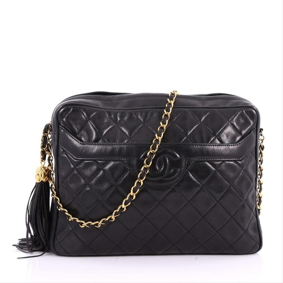 ee6617efd28a Chanel Camera Vintage Tassel Quilted Large Black Leather Cross Body ...