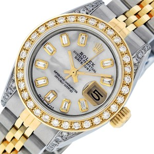 Rolex Ladies Datejust Ss/Yellow Gold with MOP Baguette Diamond Dial Watch