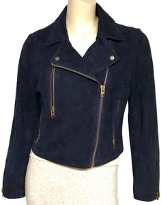 Topshop Motorcycle Suede Asymmetric blue Leather Jacket