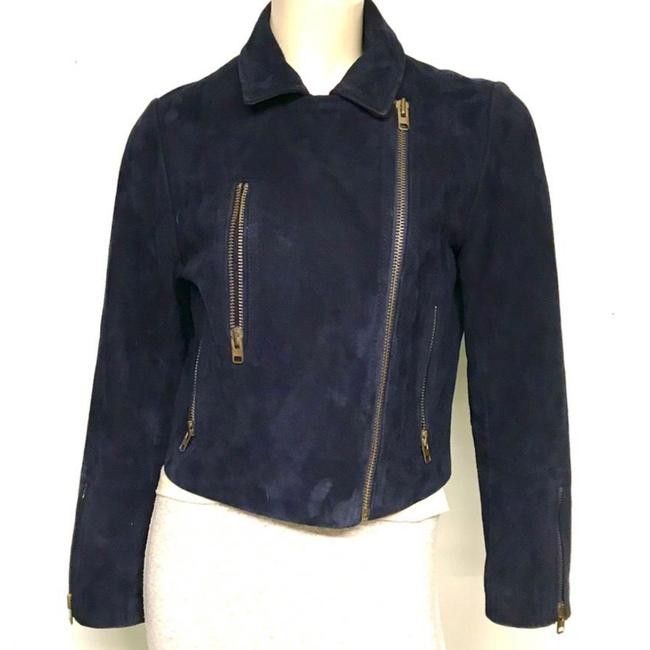 Topshop Motorcycle Suede Asymmetric blue Leather Jacket Image 1