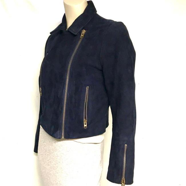 Topshop Motorcycle Suede Asymmetric blue Leather Jacket Image 2