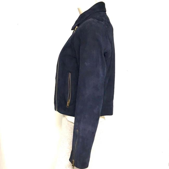 Topshop Motorcycle Suede Asymmetric blue Leather Jacket Image 3