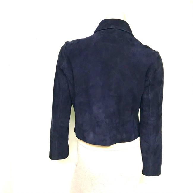 Topshop Motorcycle Suede Asymmetric blue Leather Jacket Image 4