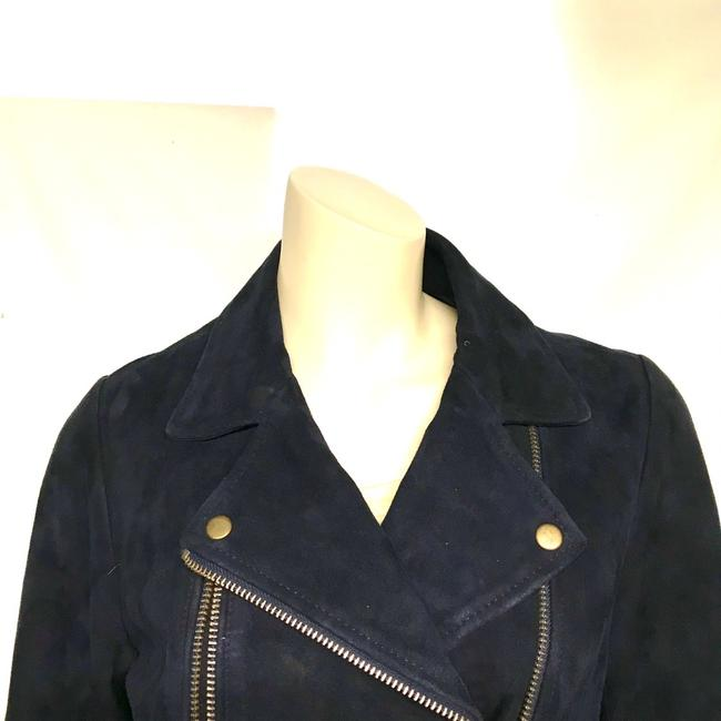Topshop Motorcycle Suede Asymmetric blue Leather Jacket Image 5