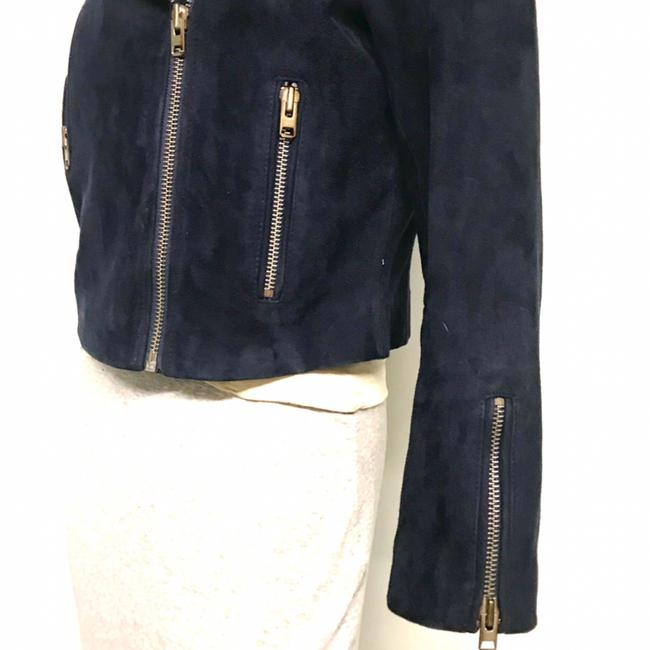Topshop Motorcycle Suede Asymmetric blue Leather Jacket Image 6