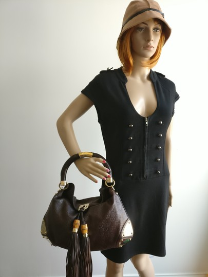 Gucci Bamboo Tassels Leather Satchel in Brown Image 1