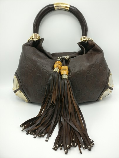 Gucci Bamboo Tassels Leather Satchel in Brown Image 2
