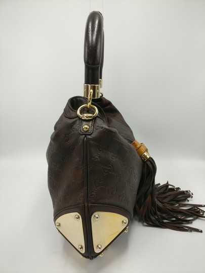 Gucci Bamboo Tassels Leather Satchel in Brown Image 4