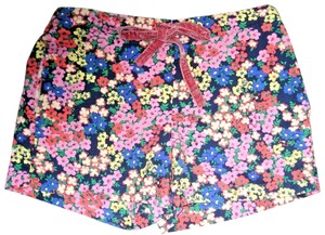 Boden Floral Elastic Waist Velvet Ribbon Tie Pockets Mini/Short Shorts Multicolored
