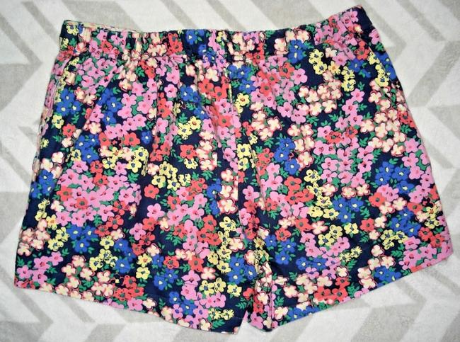 Boden Floral Elastic Waist Velvet Ribbon Tie Pockets Mini/Short Shorts Multicolored Image 4