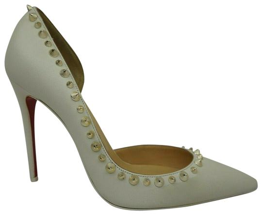 Preload https://img-static.tradesy.com/item/25111393/christian-louboutin-white-leather-irishell-studded-half-d-orsay-pumps-size-eu-39-approx-us-9-regular-0-1-540-540.jpg