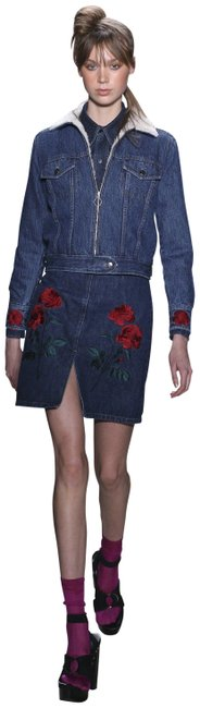 Item - Dark Denim Red White 0 Shearling Inside Embroidered Jacket Size 0 (XS)