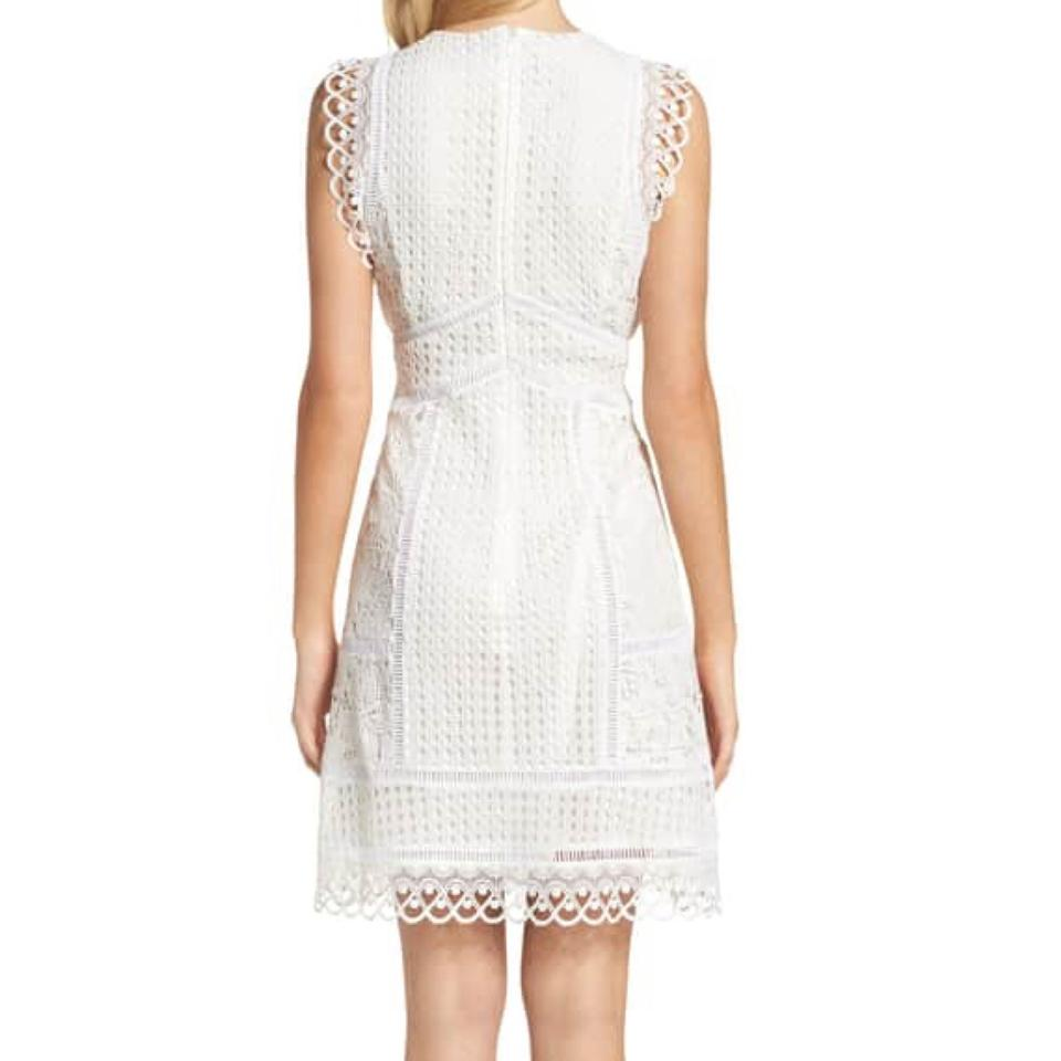 72ef8420f61 French Connection White Zahra Fit   Flare Mid-length Cocktail Dress ...