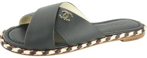 Chanel Slides Crisscross Strap Black Sandals