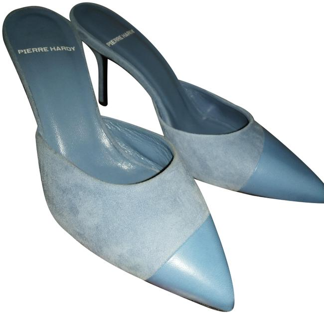 Item - Blue Leather Suede Combo Mules/Slides Size EU 36.5 (Approx. US 6.5) Regular (M, B)