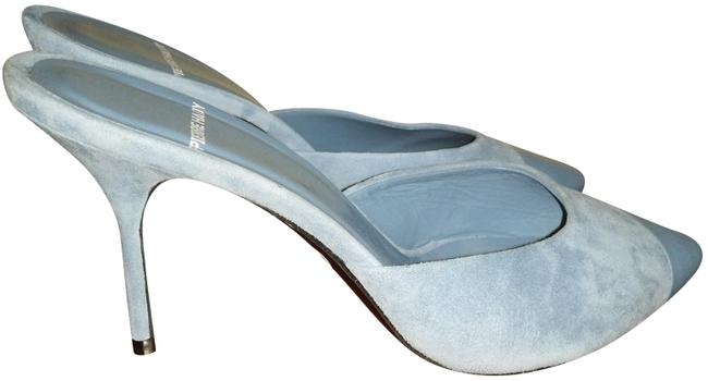 Item - Blue Leather Suede Combo Mules/Slides Size EU 38.5 (Approx. US 8.5) Regular (M, B)
