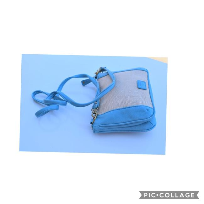 Item - Small Light Beige & Baby Blue Canvas Leather Cross Body Bag