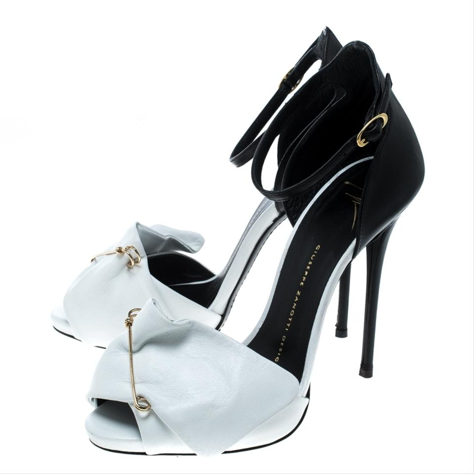 20b139b8096c1 Giuseppe Zanotti White Monochrome Leather Safety Pin Ankle Strap ...