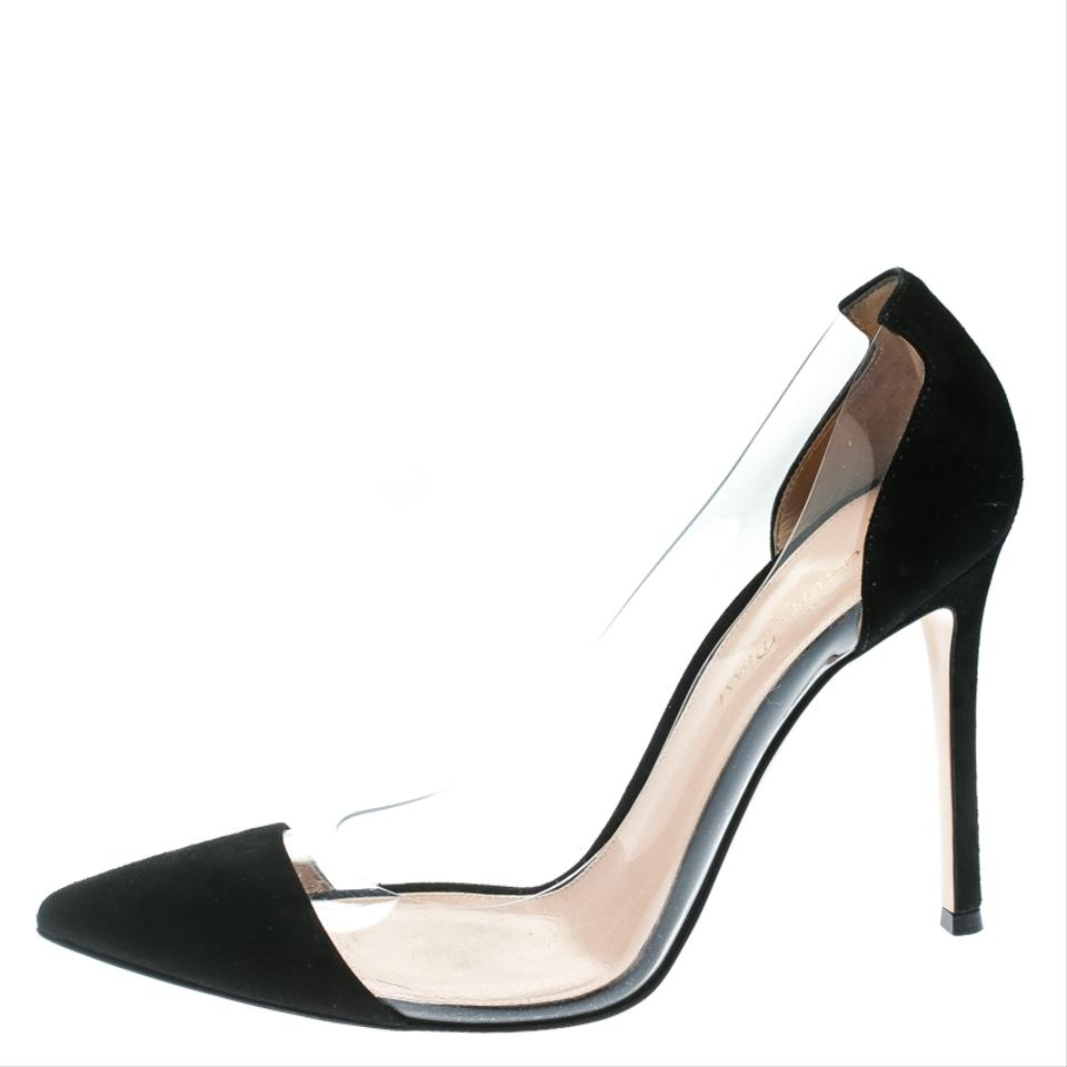 9060341624bcc Gianvito Rossi Black Suede and Pvc Plexi Pointed Pumps Size EU 38.5 ...