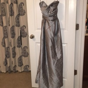 Alfred Sung Gray Strapless Formal Bridesmaid/Mob Dress Size 4 (S)