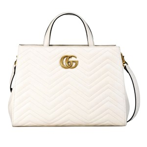 ccc2fb3e90e Added to Shopping Bag. Gucci Leather Tote in White. Gucci Marmont Gg Medium  Matelassé ...