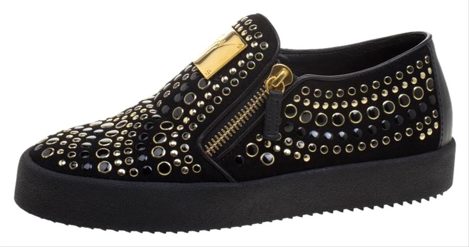 Giuseppe Zanotti Black Stud Embellished Suede Eve Slip On Sneakers Flats Size EU 40 (Approx. US 10) Regular (M, B) 52% off retail