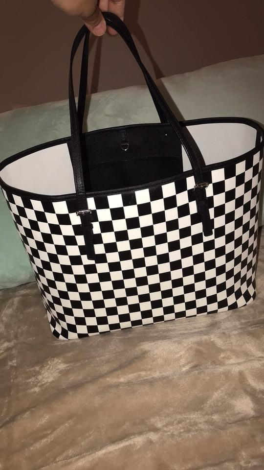 f85649692013c1 Michael Kors Checkered Black/White Leather Tote - Tradesy