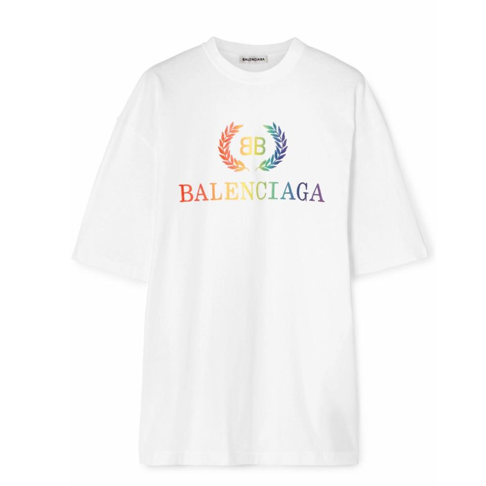 f566f4326df8 Balenciaga Laurier Oversized Rainbow Logo Embroidered Tee Shirt Size ...