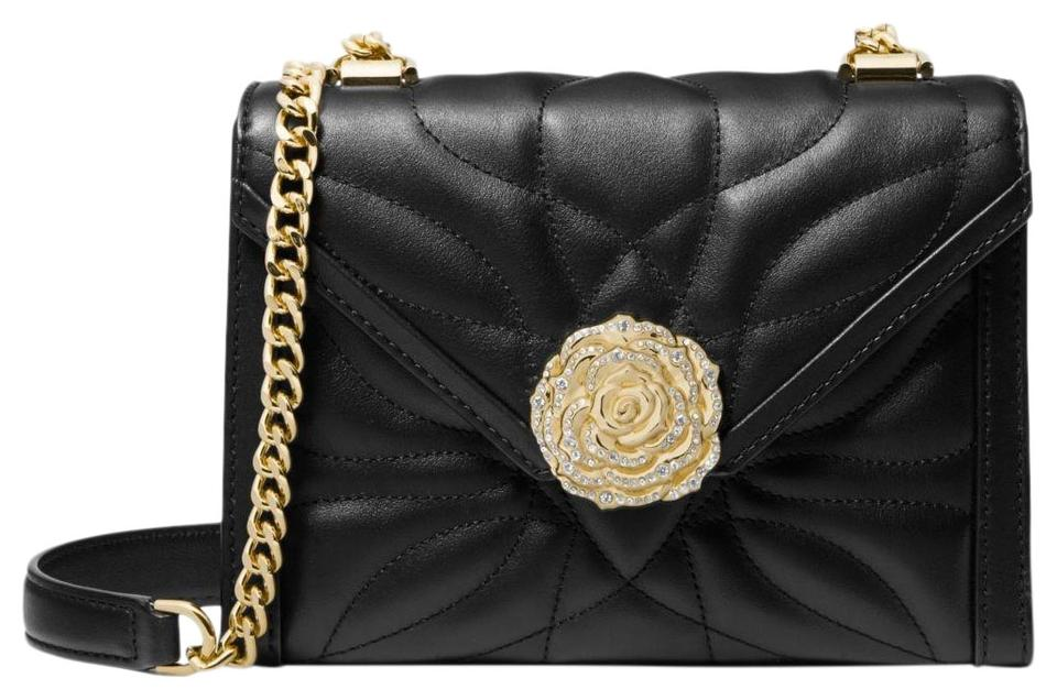 d82b8249ecf2 Michael Kors Whitney Small Petal Quilted Convertible Black Leather ...