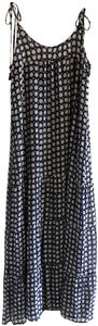 Navy and White Maxi Dress by Figue Silk Self Tie Polka Dot Beachy Carefree