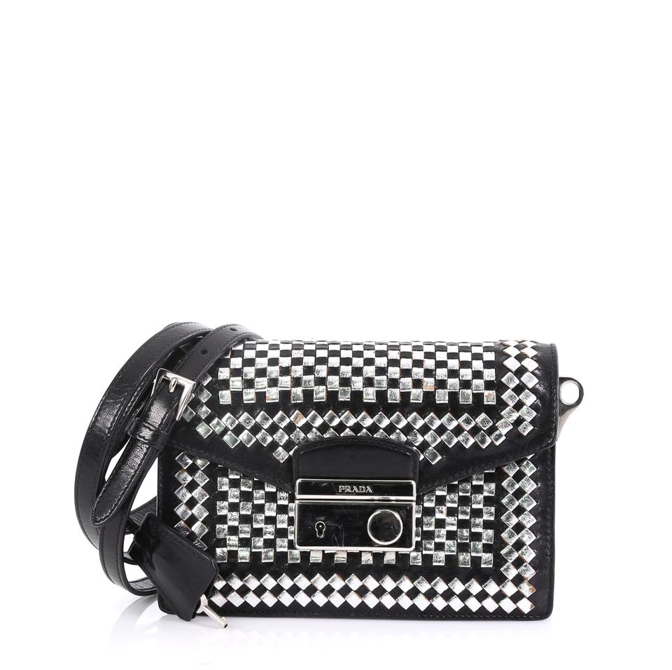 830d4287c923 Prada Sound Woven Mini Silver and Black Leather Satchel - Tradesy