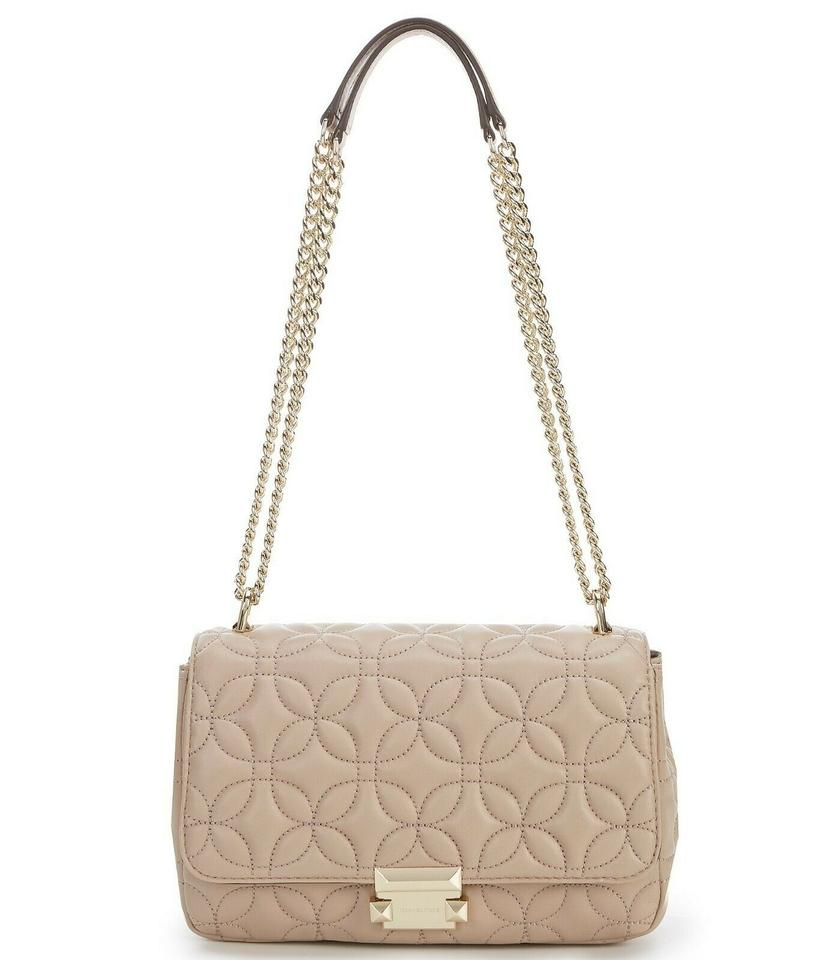 014df1e7a9aea2 Michael Kors Sloan Quilted Floral Chain Truffle/Gold Leather Shoulder Bag