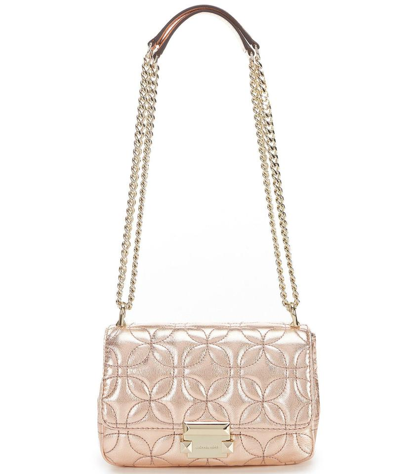 Michael Kors Sloan Small Floral Quilted Metallic RoseGold Leather Shoulder Bag 64% off retail