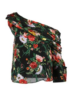 2d5ed991e585f7 Alice + Olivia Black Blooming Bouquet Floral One Shoulder Blouse ...