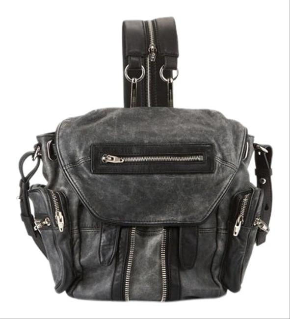 Item - Marti Crackled with Nickel Hardware Black/White Lambskin Leather Backpack